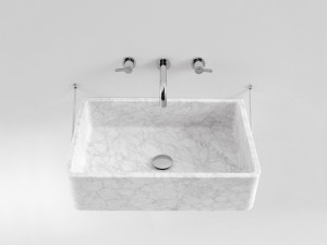 Agape Carrara wall sink with structure ACER0730S
