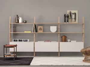 Agapecasa Cavalletto bookshelves composition in wood ACVL