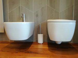 Antonio Lupi Komodo wall toilet and bidet with soft close toilet seat