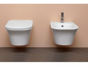 Antonio Lupi Cabo wall toilet and bidet with soft close toilet seat