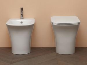Antonio Lupi Cabo floor toilet and bidet with soft close toilet seat