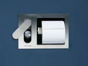 Antonio Lupi Cartatenso encased toilet paper holder and toilet jet