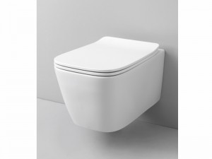 Artceram A16 wall rimless toilet with soft close toilet seat in matt white ASV00305