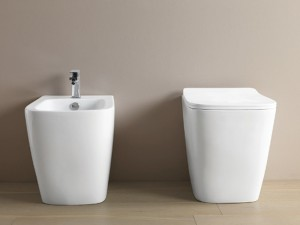 Artceram A16 floor rimless toilet, bidet and soft close seat in matt white ASV00405+ASB00205+ASA00105