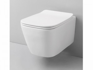 Artceram A16 Mini wall rimless toilet with soft close toilet seat in matt white ASV00505