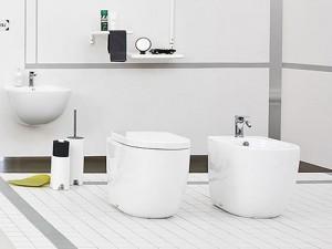Artceram File floor rimless toilet, bidet and soft close seat