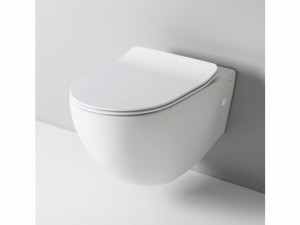 Artceram File wall rimless toilet with soft close toilet seat in matt white FLV00405