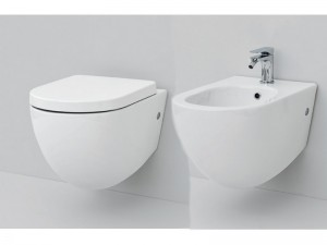 Artceram File wall rimless toilet and bidet with soft close seat