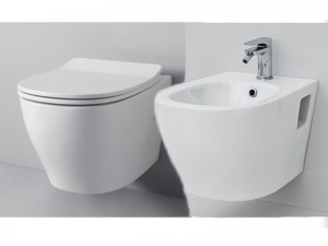 Artceram Ten wall toilet and bidet with seat