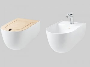 Artceram The One wall toilet, bidet and Oak toilet seat