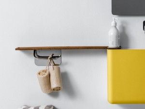 Falper wood shelf with brass paper holder WL6