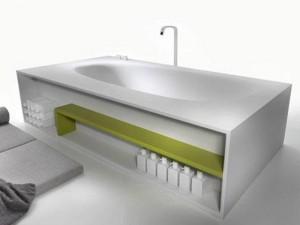 Falper Vascamisura freestanding hot tub with wood shelf VKI