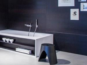 Falper Vascamisura freestanding hot tub with wood open shelf VMI