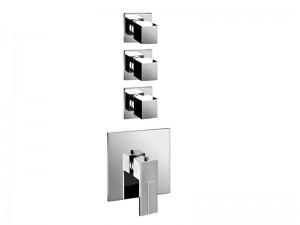 Fantini AR/38 4 holes thermostatic shower mixer with 3 stop valves 3903SB