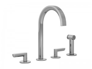Fantini Icona Deco 4 holes kitchen tap with pull out handshower R151