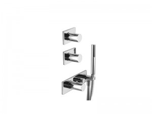 Fantini Milano thermostatic shower mixer with 3 stop valves and handshower 4713B