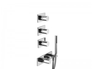 Fantini Milano thermostatic shower mixer with 4 stop valves and handshower 4714B