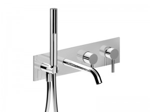 Fantini Nostromo Acciaio wall hot tub tap with diverter and handshower E820B