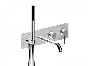 Fantini Nostromo Acciaio wall hot tub tap with diverter and handshower E821B