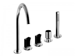 Fantini Venezia 5 holes hot tub tap with diverter and pull out handshower N465S