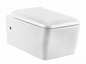 Gessi Rettangolo wall toilet with soft close toilet seat 37573