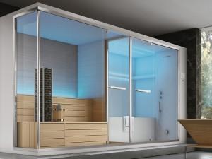 Hafro Olimpo angular turkish bath with sauna, shower and integrated hot tub. cod. SET60021-1D009