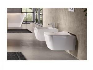 Hidra Faster Kiub wall rimless toilet, bidet and Slim soft close seat Matt White