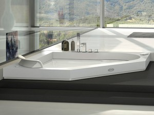 Jacuzzi Aura Corner 140 Corian drop in hydromassaging hot tub 9443737