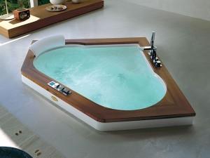 Jacuzzi Aura Corner 140 Wood drop in hydromassaging hot tub 9F43492A