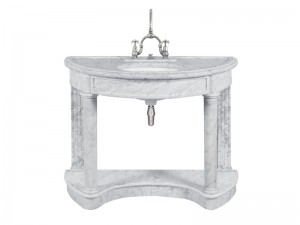 Lefroy Brooks Demi Lune Carrara marble console LB6330WH