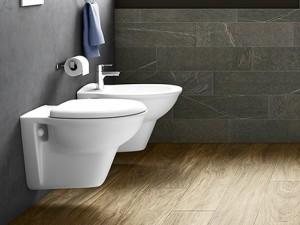 Rak Karla wall toilet, bidet and toilet seat