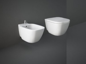 Rak One wall rimless toilet and bidet with hidden fixings and toilet seat