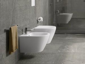 Rak Resort wall hidden fixings rimless toilet, bidet and soft close seat RST23AWHA+RST07AWHA+RESC00004